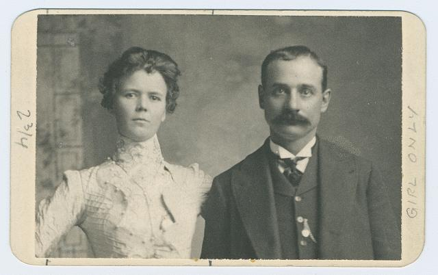 [Annie Rogers and Harvey Logan, half-length portrait, facing front]