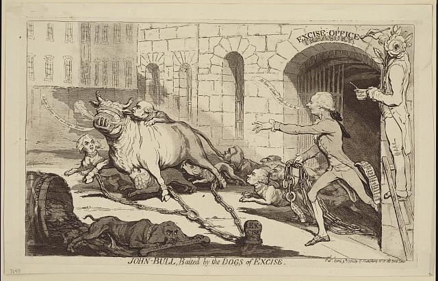 John Bull, baited by the dogs of excise