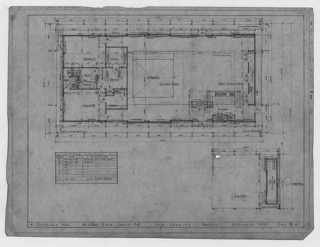 [Cohen residence, Siesta Key, Florida. Plan with opening schedule]