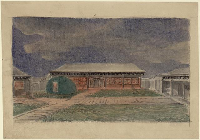 [House with paper windows and with a Mongol hut in the yard in front]