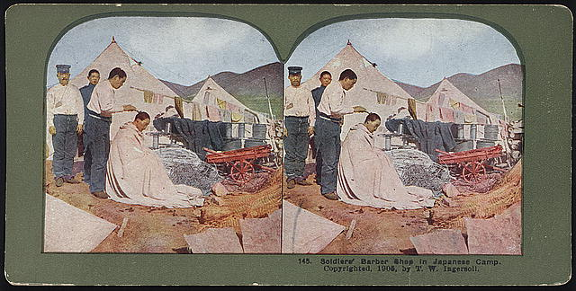 Soldiers' barber shop in Japanese camp