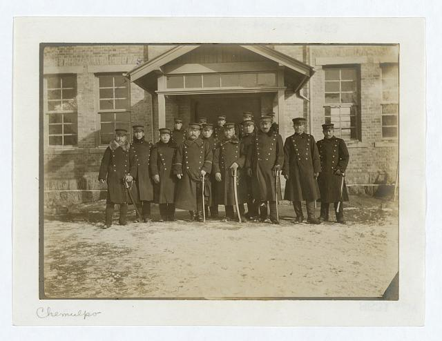 [Group of Japanese officers in front of legation at Chemulpo]