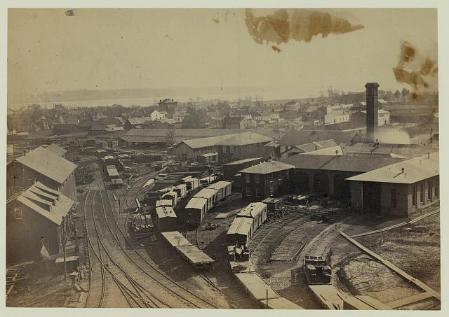 Bird's eye view of machine shops, with east yard of Orange & Alexandria Railroad