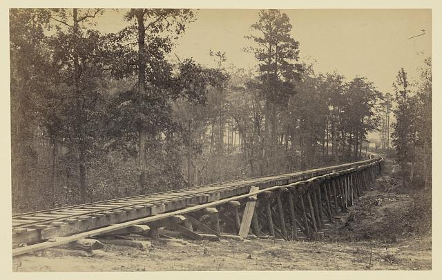 [Railroad bridge with timber trestles]