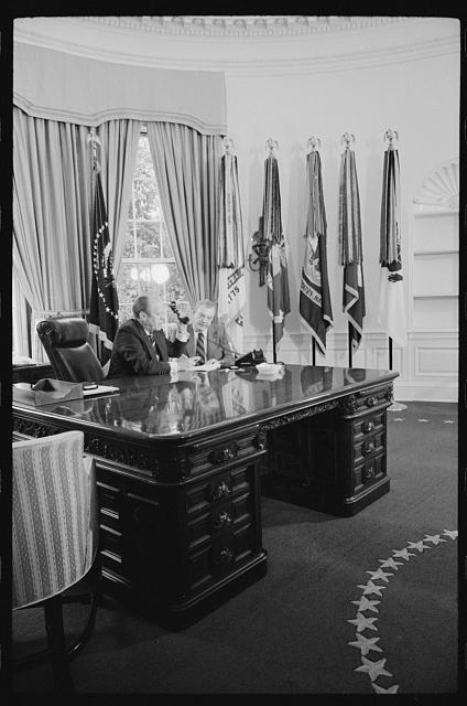[President Gerald Ford meeting with George Meany in the Oval Office of the White House, Washington, D.C.]