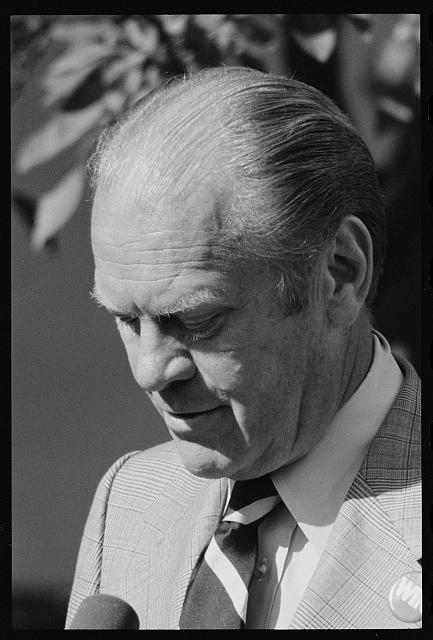 [President Gerald Ford at a White House press conference, Washington, D.C.]