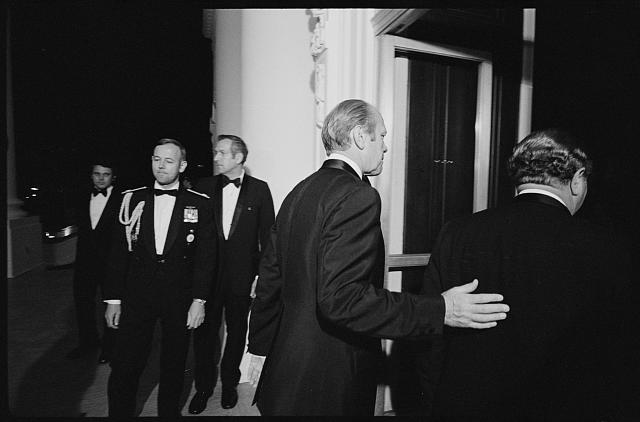 [President Gerald Ford escorting Austrian Chancellor Bruno Kreisky into the White House for a state dinner, Washington, D.C.]
