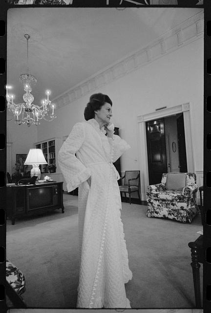 [First Lady Betty Ford talking on the telephone in the living quarters of the White House, Washington, D.C.]