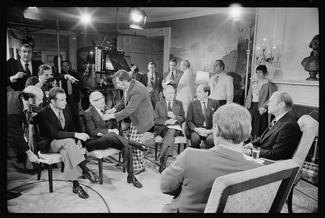 [President Gerald Ford and foreign correspondents preparing for a television interview at the White House, Washington, D.C.]