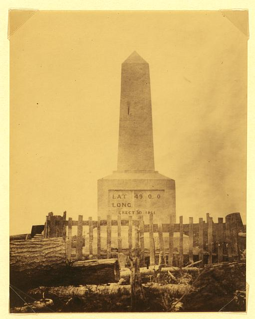 [Boundary monument at Point Roberts - Lat. 49 0 0, Long., erected 1861]