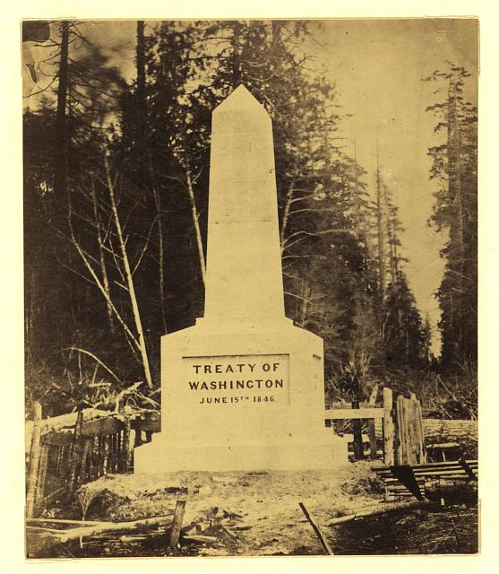 [Boundary monument at Point Roberts - Treaty of Washington June 15th 1846]
