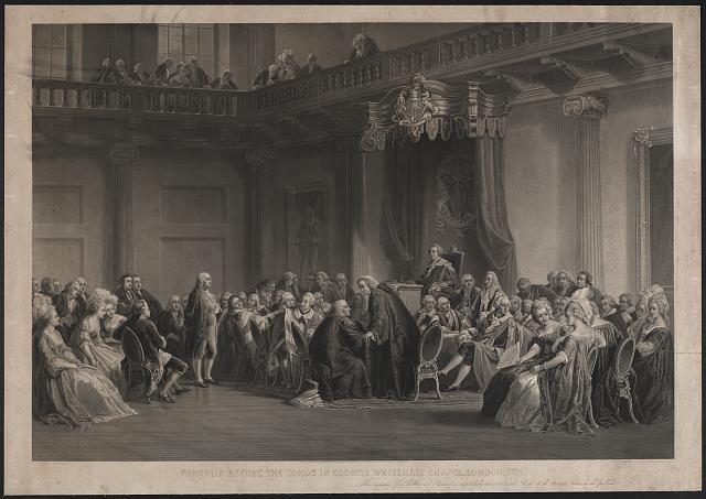 Franklin before the lord's council, Whitehall Chapel, London, 1774