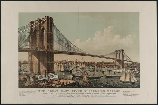 The great East River suspension bridge. Connecting the cities of New York & Brooklyn. From New York looking south-east