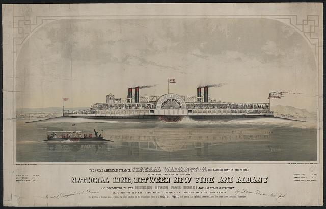 The great American steamer, General Washington, the largest boat in the world to be built and run on the new National Line, between New York and Albany