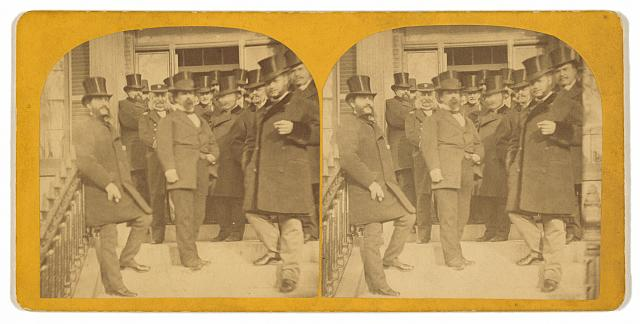 H[is] I[mperial] Highness the Grand Duke Alexis [right, front], at the residence of Hon. G. V. Fox, Lowell, Massachusetts, Dec. 9th, 1871