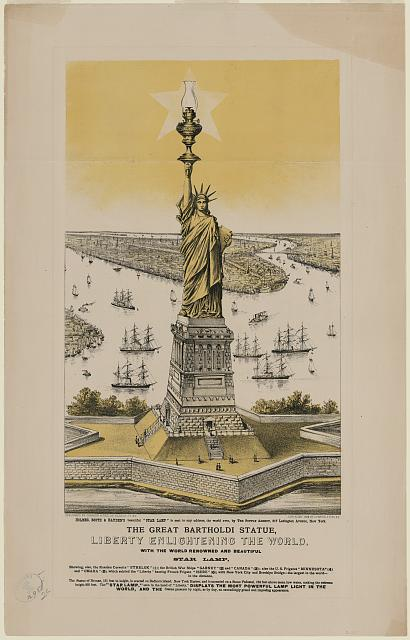 The great Bartholdi statue, Liberty enlightening the world with the world renowned and beautiful Star Lamp.