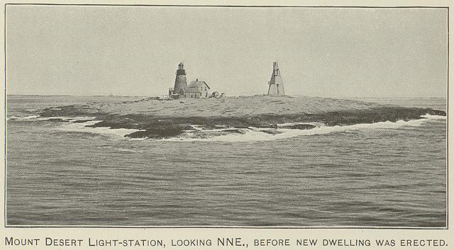 Mount Desert light-station, looking NNE, before new dwelling was erected