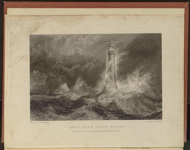Bell Rock light house during a storm from the North East