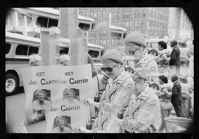 "[Woman holding a sign saying ""Meet Jimmy Carter"" at the Democratic National Convention, New York City]"