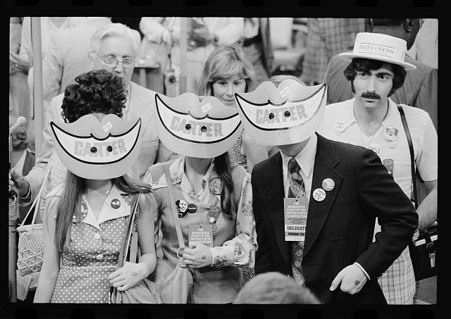 [Delegates wearing Jimmy Carter smile masks at the Democratic National Convention, New York City]