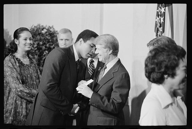 [President Jimmy Carter greets Mohammed Ali at a White House dinner celebrating the signing of the Panama Canal Treaty, Washington, D.C.]