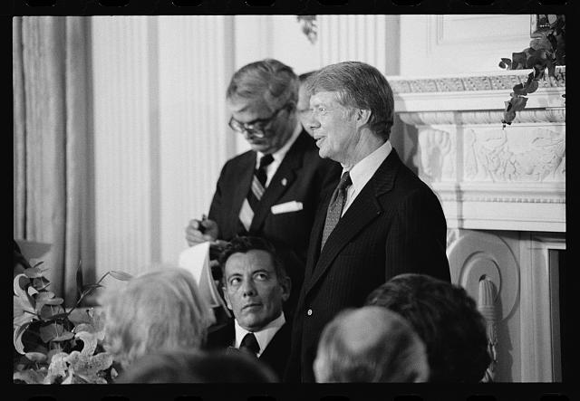 [President Jimmy Carter speaking at a White House dinner celebrating the signing of the Panama Canal Treaty, Washington, D.C.]