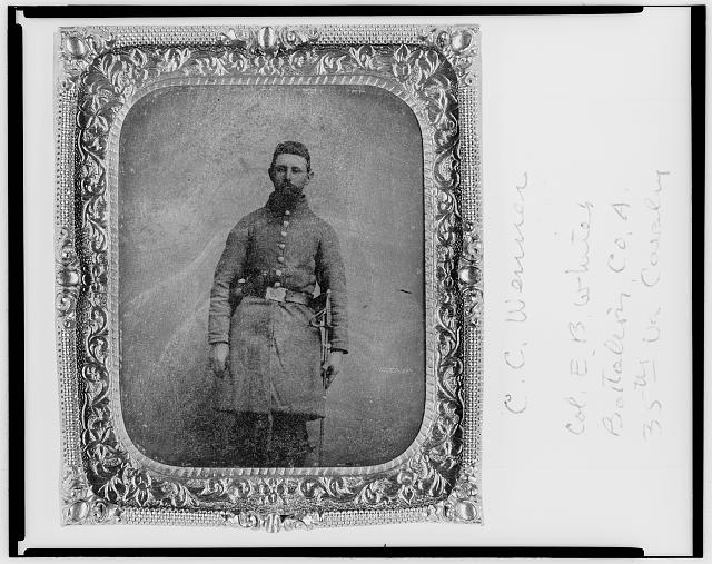 [Pvt. C.C. Wenner, Co. A., 35th Virginia Cavalry, C.S.A., three-quarter length portrait, facing front]