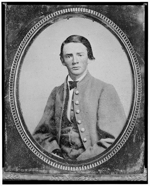 [Wm. Francis Jones, Pvt., 5th Virginia Cavalry, C.S.A., half-length portrait, seated, facing front]