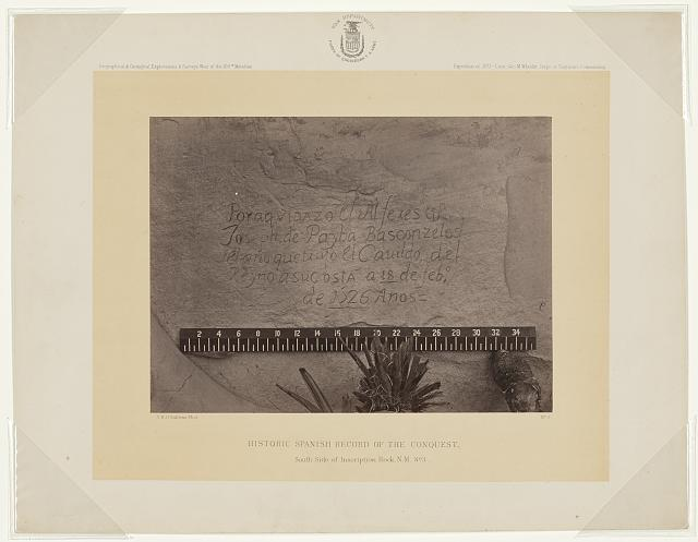 Historic Spanish record of the Conquest. South side of Inscription Rock, N.M., no. 3