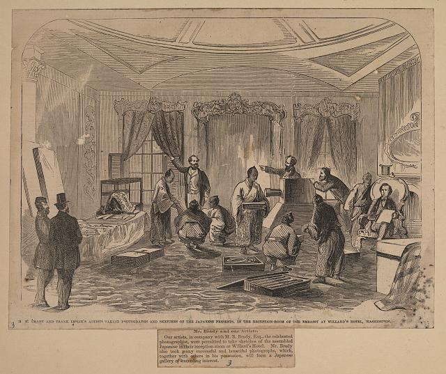 M.B. Brady and Frank Leslie's artists taking photographs and sketches of the Japanese presents, in the reception room of the Embassy at Willard's Hotel, Washington