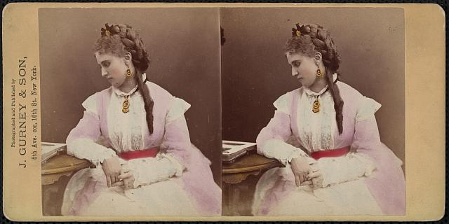 [Christine Nilsson, Swedish soprano, half-length portrait, seated, facing left]