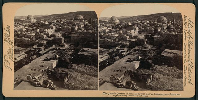 The Jewish quarter of Jerusalem with its two synagogues, Palestine