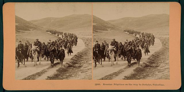 Russian pilgrims on the way to Jericho, Palestine