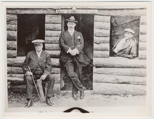 Hot Springs, Ark. (1920), left to right: William A. Pinkerton, Inspector Gough of Scotland Yard, and Lou Houseman, newspaperman