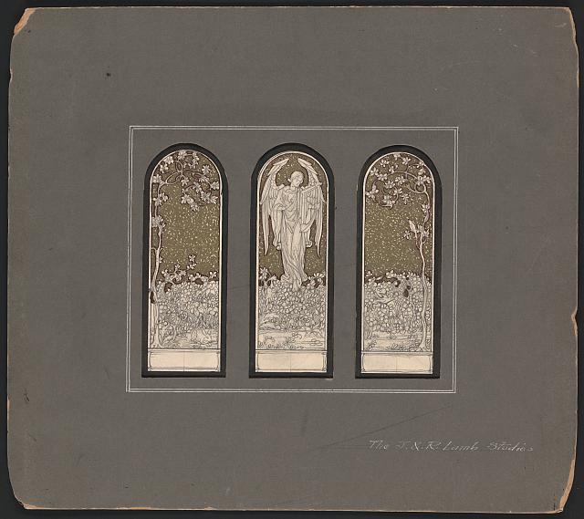 [Design drawing for mosaic mural showing Angel with harp, rabbit, birds in flora]