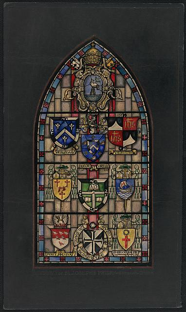 [Design drawing for stained glass window with heraldic-style shields with Christian symbols for St. Joseph's Priory in Sommerset, Ohio]