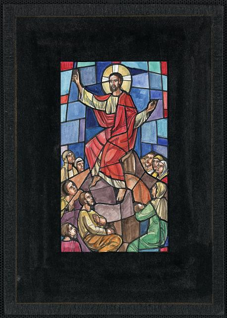 [Design drawing for stained glass window showing Christ preaching and sitting (Sermon on the Mount?); and mother and infant]