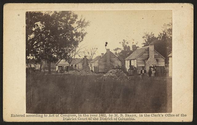 [Slave quarters on a plantation, possibly in Beaufort, South Carolina]