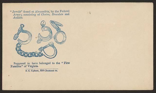 """Jewels"" found at Alexandria, by the Federal Army; consisting of chains, bracelets, and anklets. Supposed to have belonged to the ""First Families"" of Virginia"