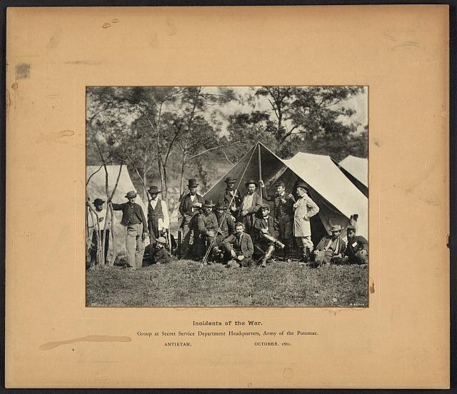 Incidents of the war, group at Secret Service Department Headquarters, Army of the Potomac, Antietam, October 1862