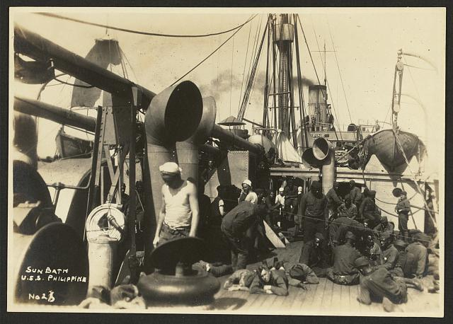 [803rd Pioneer Infantry Battalion on the U.S.S. Philippine (troop ship) from Brest harbor, France, July 18, 1919]. no. 2[...], Sun bath, U.S.S. Philippine