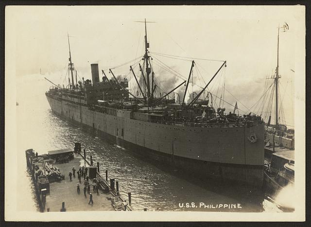 [803rd Pioneer Infantry Battalion on the U.S.S. Philippine (troop ship) from Brest harbor, France, July 18, 1919]. U.S.S. Philippine