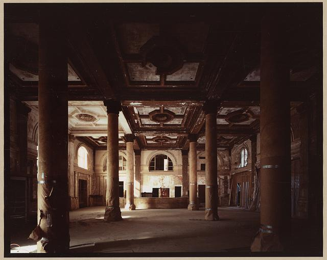 Willard Hotel lobby after cleanup, before restoration, 1984