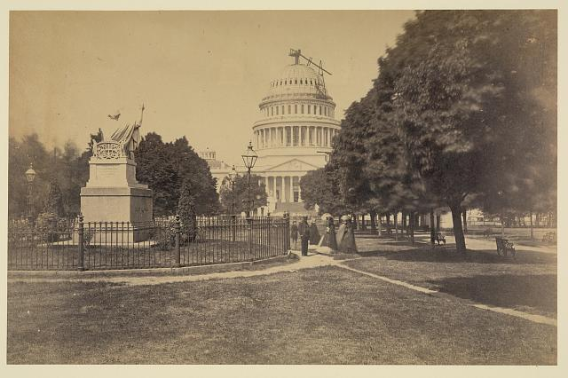 Capitol, Washington, D.C., east front. Statue of Washington in foreground, July 11, 1863