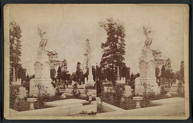 [ Monuments and tombstones in an unidentified cemetery]