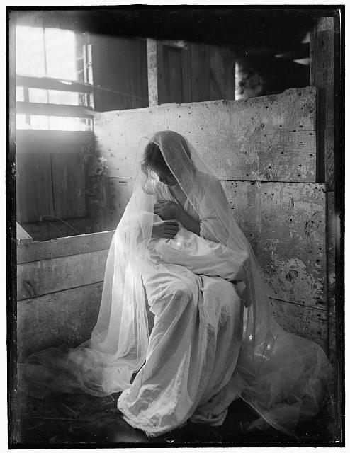 [The Manger, an experimental negative to show values of white against white, featuring a young woman holding a baby and made in Newport, R.I.]
