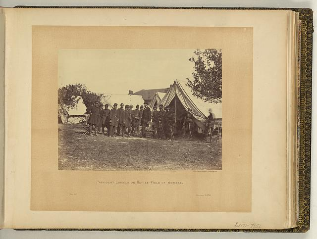 President Lincoln on battle-field of Antietam, October, 1862