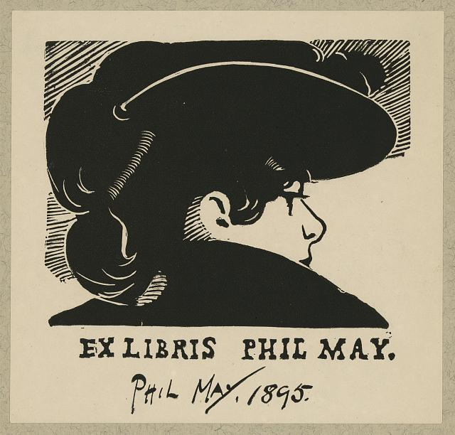 [Bookplate of English caricaturist Phil May]