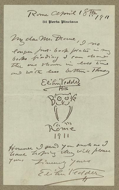 [Manuscript letter from artist, Elihu Vedder to Ruthven Deane, with original bookplate drawing]