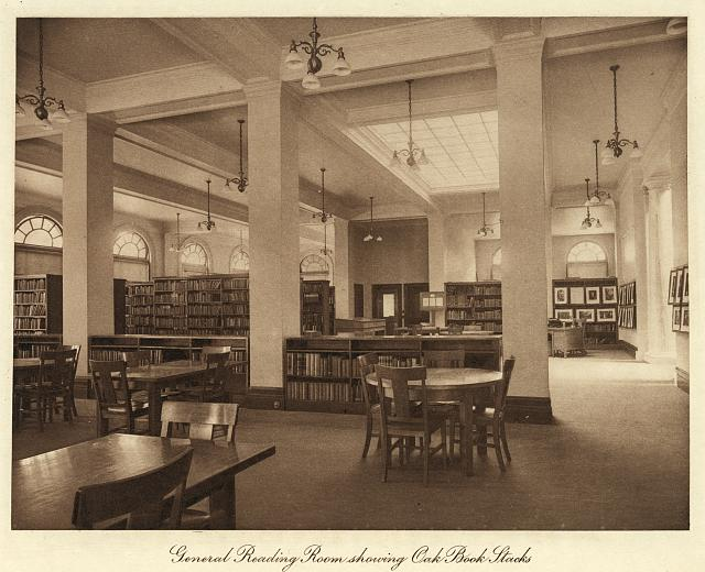 General reading room showing oak book stacks